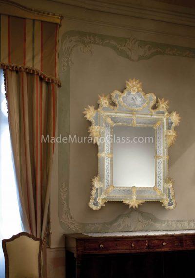 Gold Murano Glass Mirror – Vela – Venetian Glass
