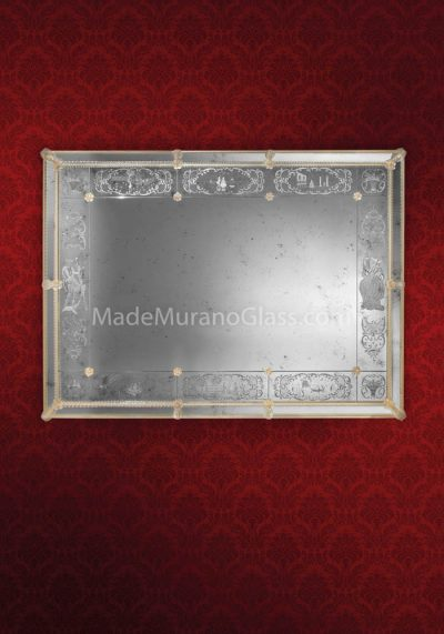Silver Venetian Glass Mirror – Veneziano – Murano Art Glass