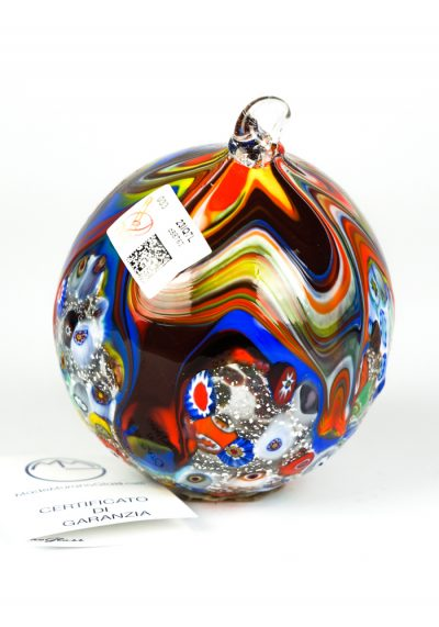 Xmas Murrina Millefiori Ball With Silver Leaf