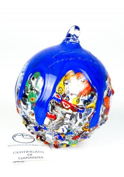 Xmas Ball Murrina Millefiori Blue With Silver Leaf