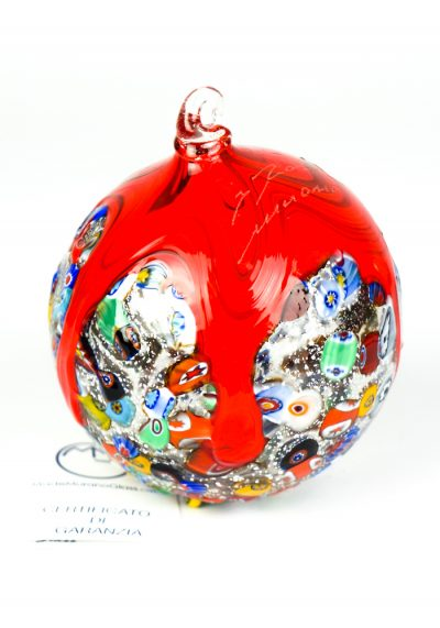 Xmas Ball Murrina Millefiori Red With Silver Leaf