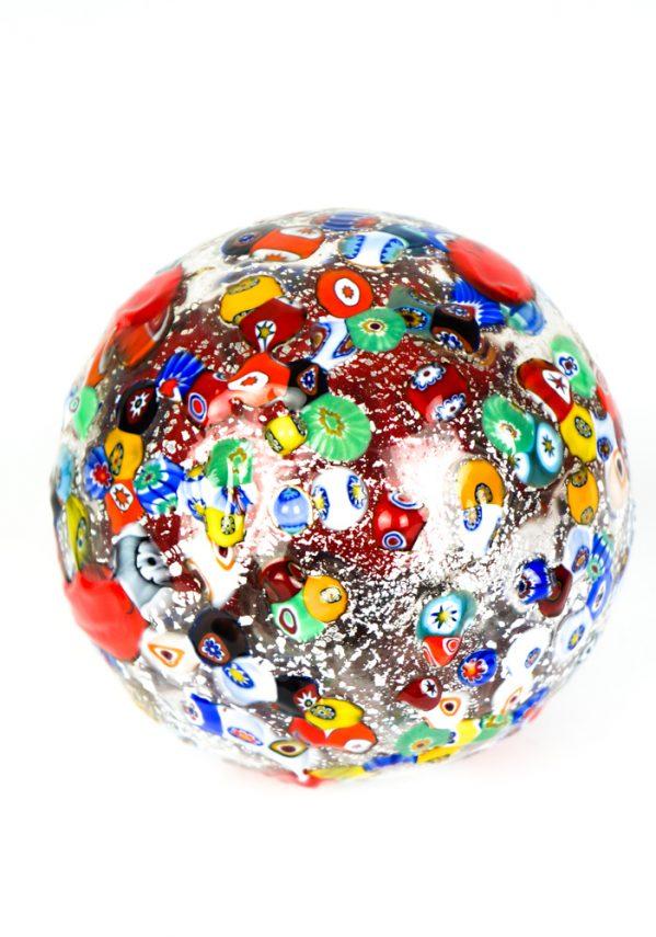 Nastro - Palla Di Natale Millefiori Rosso In Vetro Soffiato xmas ball murrine