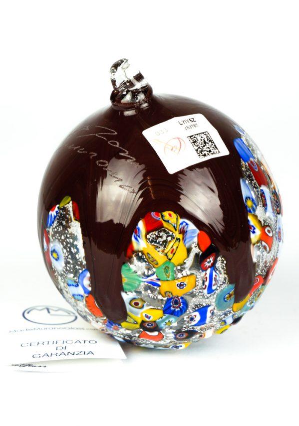 Soffio - Palla Di Natale Millefiori Rosso Bordo' Argento