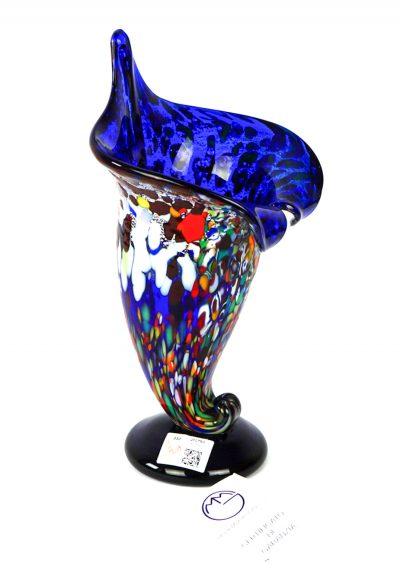 Cornucopia – Murano Glass Vase Fantasy Blue