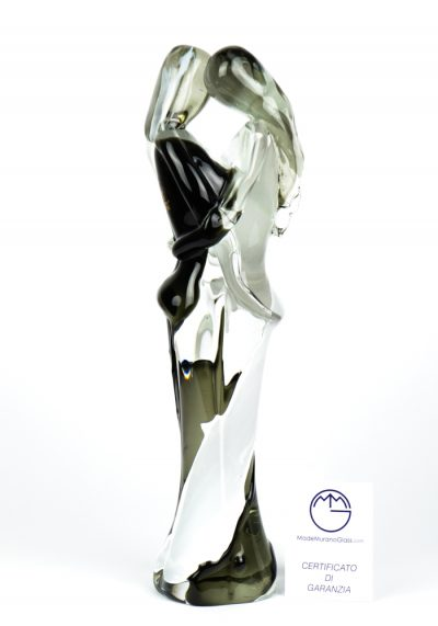 Lovers Sculpture – Black And White – Made Murano Glass