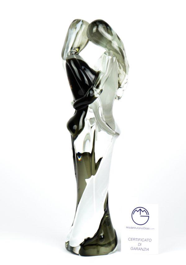Scultura Di Amanti - Bianco E Nero - Made Murano Glass