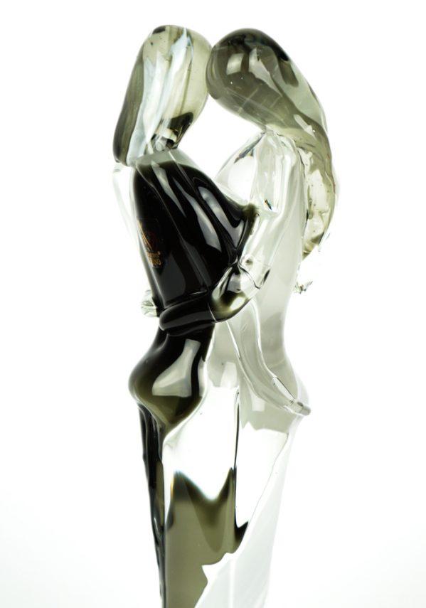 Scultura Di Amanti - Bianco E Nero - Made Murano Glass black& withe glass lovers