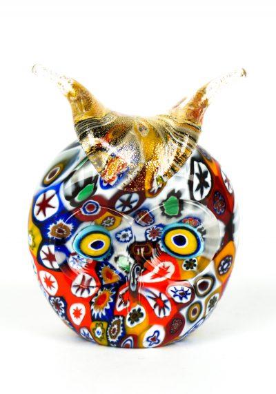 Murano Glass Animals – Owl Head With Murrina – Murano Art