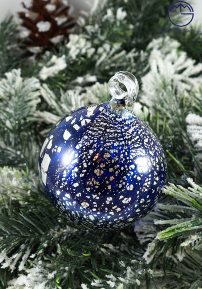 Christmas Ball In Venetian Blown Glass With Silver