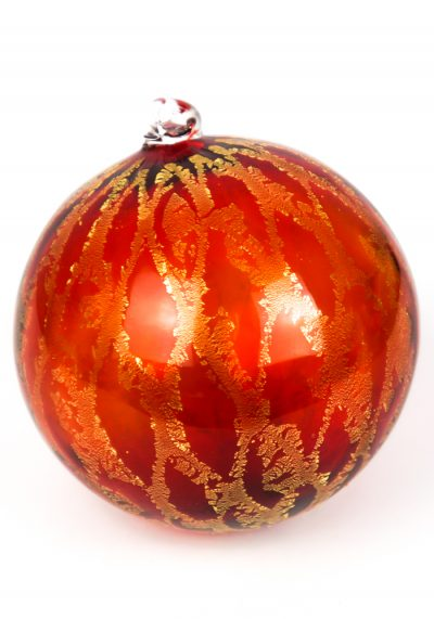 Xmas Red Ball With Gold Leaf 24kt