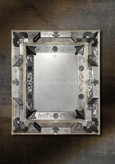 Black Silver Murano Glass Mirror  – Ca D'oro