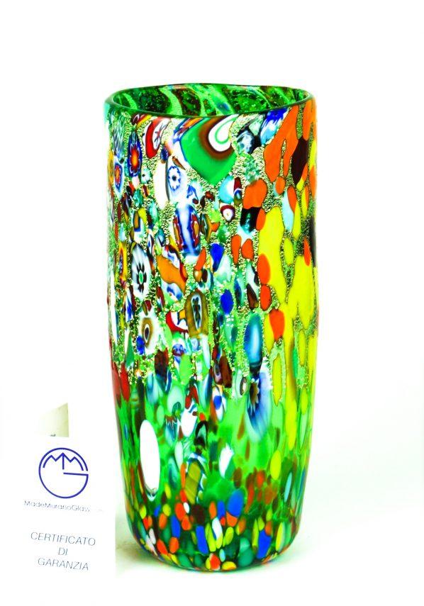 Meran - Vaso Cilindro In Vetro Murano Fantasia Verde