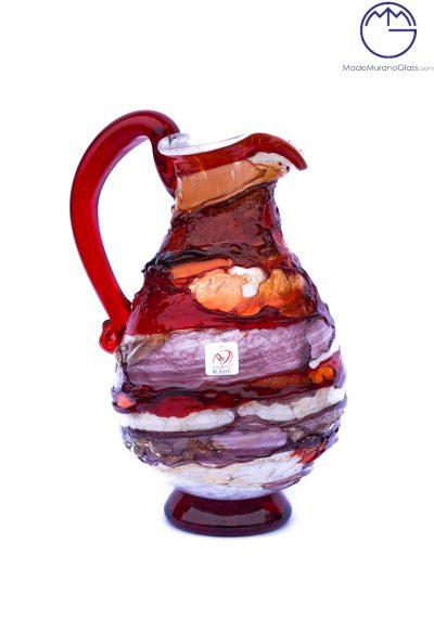 Harmony – Jug In Venetian Blown Glass Sbruffi Red – Murano Glass
