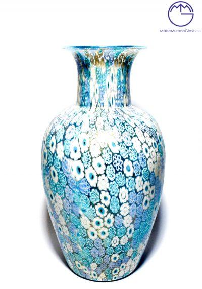 Big Murano Glass Vase With Murrina Millefiori And Gold 24 Carats