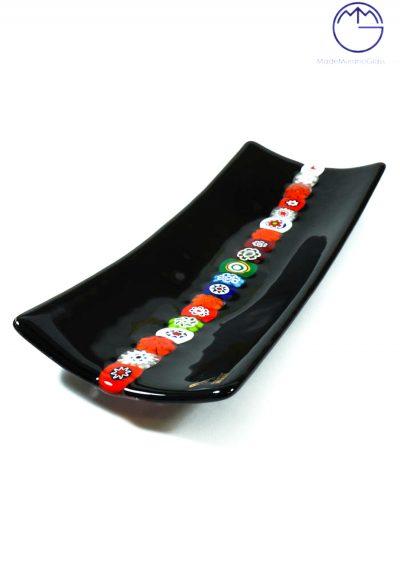 Black Plate With Murrine In Murano Glass – Medium Measure