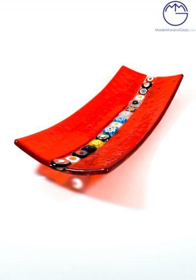 Red Plate With Murrine In Murano Glass – Medium Measure