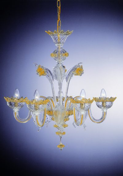 """Crystal Gold Chandelier """"Clary"""" With 5 Lights"""