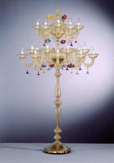 Gold Murano Floor Lamp With 24 Lights