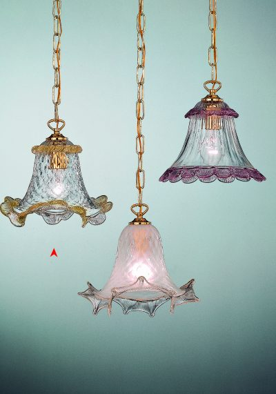 Venetian Glass Lamps With Amber Decorations – Murano Glass