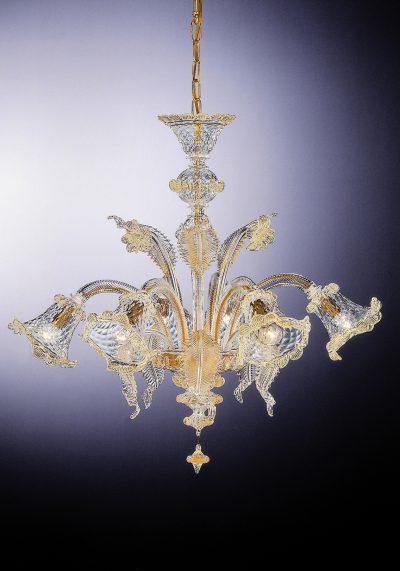 "Venetian Glass Chandelier ""Manin"" With 6 Lights"