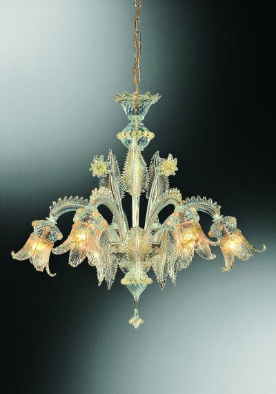 "Venetian Glass Chandelier ""Greci"" With 6 Lights"