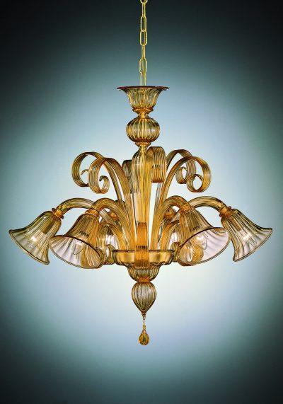 "Amber Venetian Blown Glass Chandelier ""Ambra"" With 6 Lights"