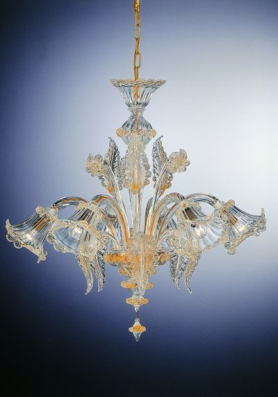 """Gold Chandelier """"Labia"""" With 6 Lights – Murano Art Glass"""