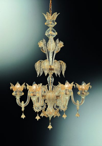 """All Gold Murano Chandelier """"Ducale"""" With 6 Lights"""