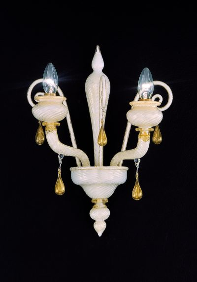 Oregon – White Gold Murano Wall Lamp 2 Lights With Pyramid