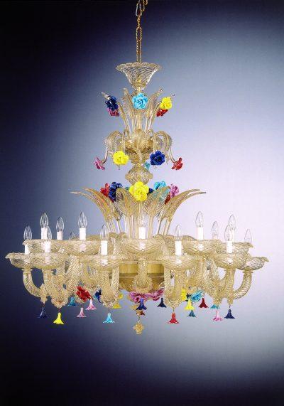"All Gold Leaf 24k Glass Chandelier ""Cleopatra"" With 18 Lights"