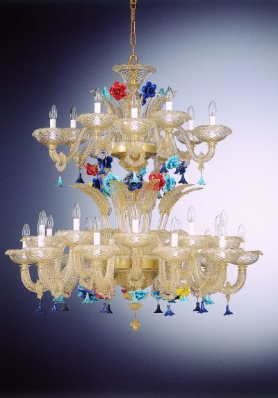 """Gold Chandelier Murano""""Fontana"""" On Two Floors With 20+10 Lights"""