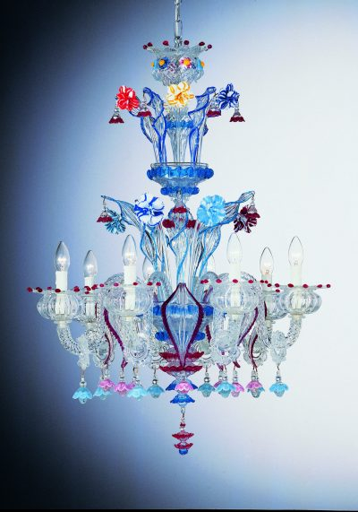 """Blown Chandelier """"Panamà"""" With 8 Lights"""