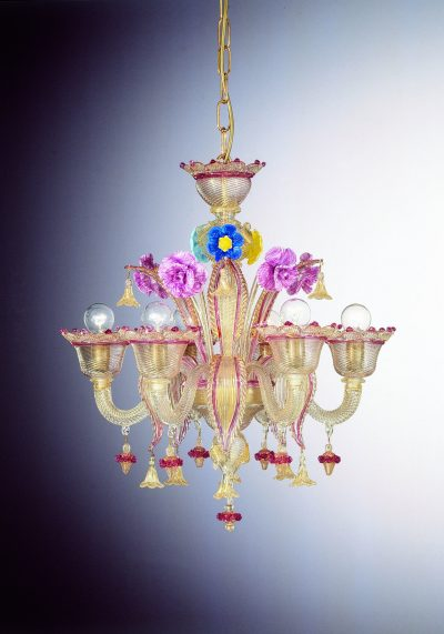 """Gold Rose Glass Chandelier """"Gesuiti"""" With 6 Lights"""