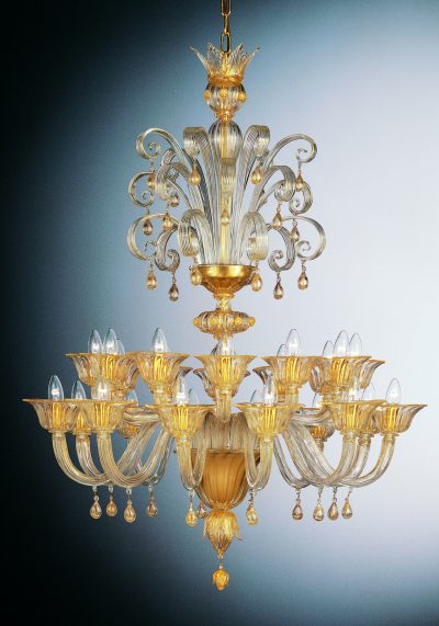"""Crystal Gold Leaf Murano Chandelier """"Palace"""" With 24 Lights"""
