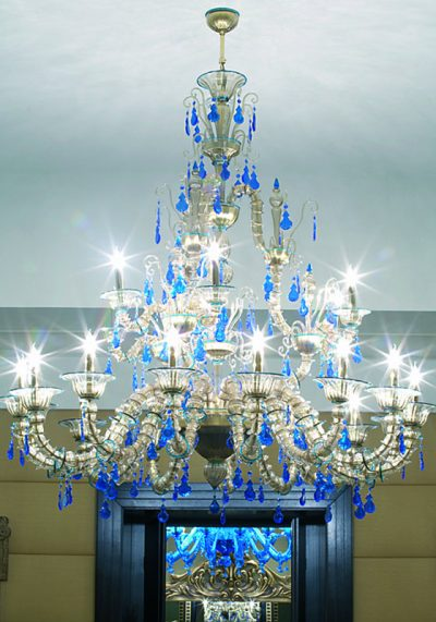 """Smoky Gray And Ligh Blue Chandelier """"Rezzonico"""" With 15+6 Lights"""