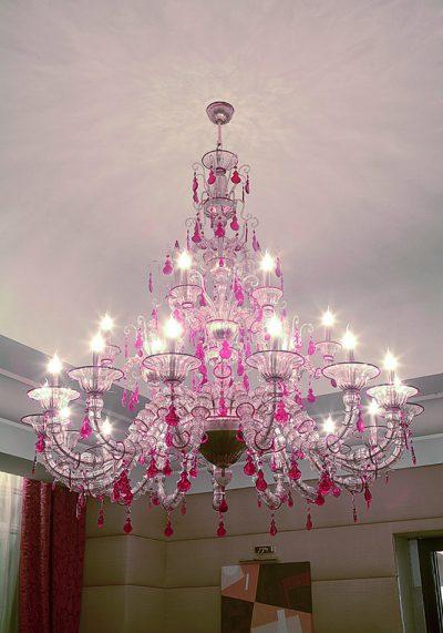 "Made Murano Glass Chandelier ""Ca' Rezzonico"" With 15+6 Lights"