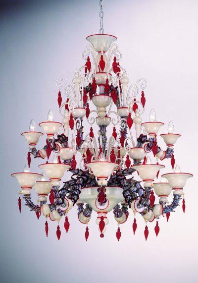 "Glass Murano Chandelier ""Frank Rezzonico"" With 9+6 Lights"