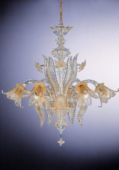 """Venetian Glass Chandelier """"Venezia"""" With 6 Lights"""
