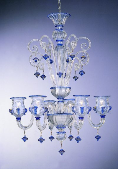"""Crystal Blue Glass Chandelier """"Murano"""" With 6 Lights"""