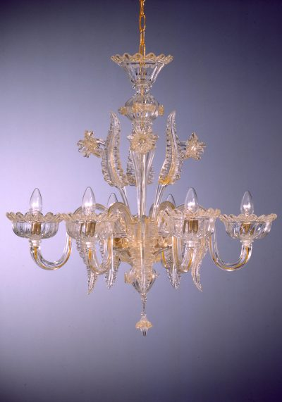 """Gold Murano Glass Chandelier """"Moisè """" With 6 Lights"""