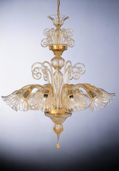 """Crystal All Gold 24k Glass Chandelier """"Hilton"""" With 8 Lights"""