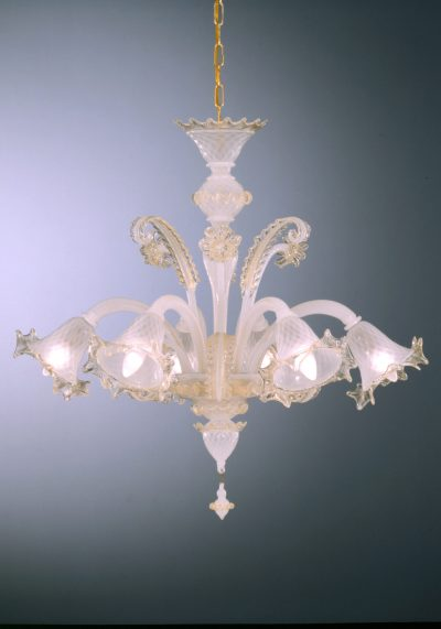 """Venetian Glass Chandelier """"Salvador"""" With 6 Lights – Murano Collection"""