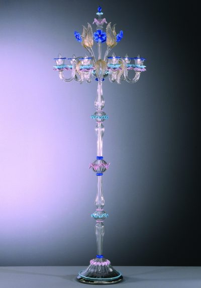 Floor Lamp In Murano Glass With 6 Lights