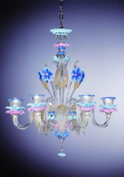 "Venetian Glass Chandelier ""Silvestro"" With 6 Lights"