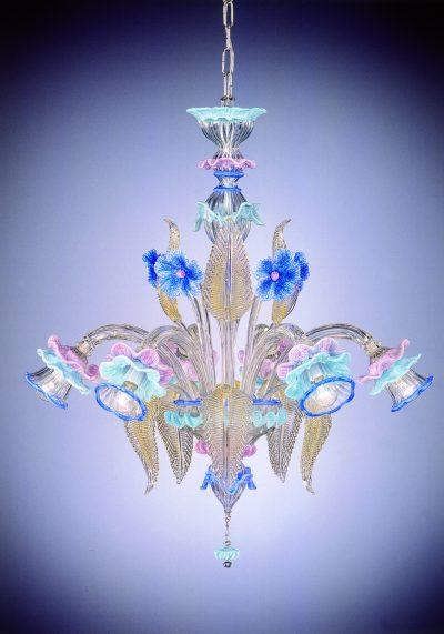 "Murano Chandelier ""Zaccaria"" With 6 Lights – Venetian Blown Glass"