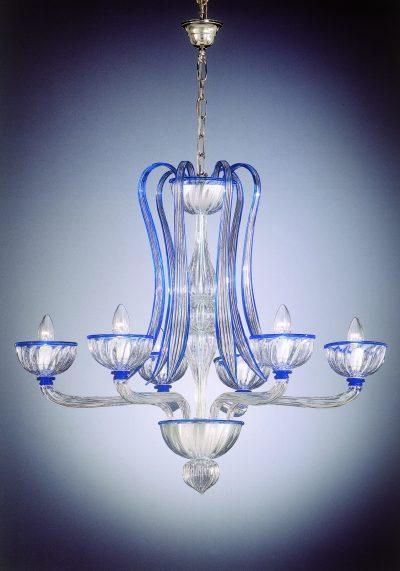 "Venetian Glass Chandelier ""Formosa"" With 6 Lights"