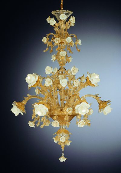 """White Roses Murano Glass Chandelier """"Regal"""" With 9 Lights"""