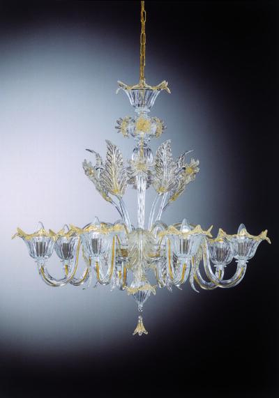 "Gold Crystal Venetian Glass Chandelier ""Da Vinci"" With 8 Lights"