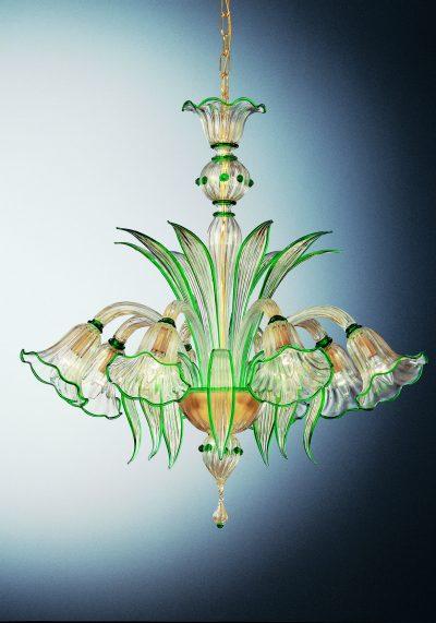 "Gold Green Murano Glass Chandelier ""Portofino"" With 8 Lights"