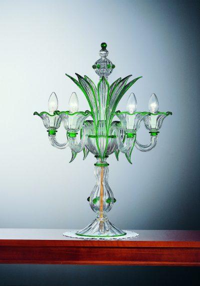 Venetian Glass Lamps – Flambeaux 5 Lights With Gold 24 Carats – Murano